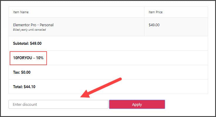 Elementor Discount Code Working